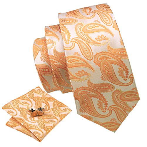 Orange Tie Paisley Silk Handkerchief Set Cufflinks Men Fashion Necktie Wedding Business -