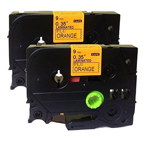 NEOUZA 2PK Compatible For Brother P-Touch Laminated Tze Tz Label Tape Cartridge 9mm x 5m (TZe-B21 Black on Orange Fluorescent)