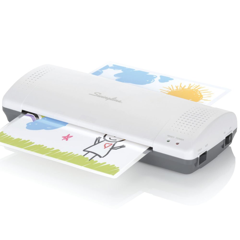 "Swingline Laminator, Thermal, Inspire Plus Lamination Machine, 9"" Max Width, Quick Warm-Up, Includes Laminating Pouches, White/Gray (1701857ECR)"