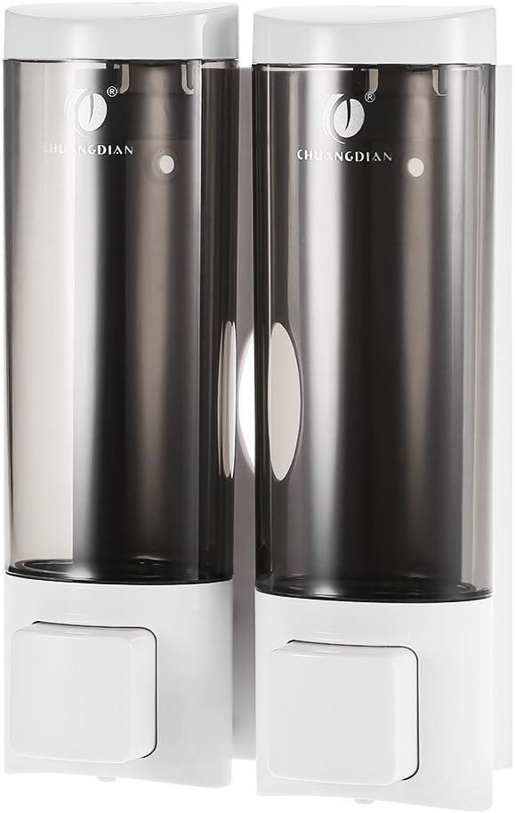 Anself - Dispensador de jabón Doble para Pared, Jabonera de loción líquido, 2x200ml