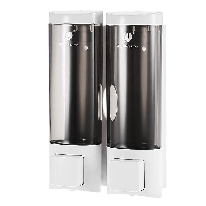 Anself - Dispensador de jabón doble para pared, Jabonera de loción líquido, 2x200ml: Amazon.es: Hogar