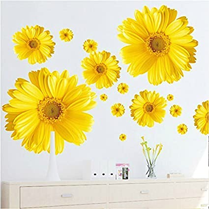 SWORNA Nature Series 3D Yellow Daisies Removable Vinyl Mural Wall ...
