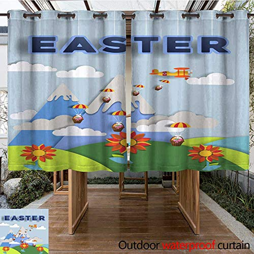 0utdoor Curtains for Patio Waterproof Happy Easter Day Easter Paper Art Design Air Plane Flying Between Mountains and Clouds Hamper with Eggs Fall to Nature l W96 x L72