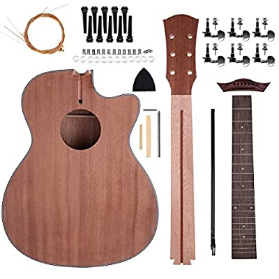 Acoustic Steel Strings Guitar Make Your Own Guitar DIY Guitar Kits 40 Inch for Music Lover (Sapele): Musical Instruments