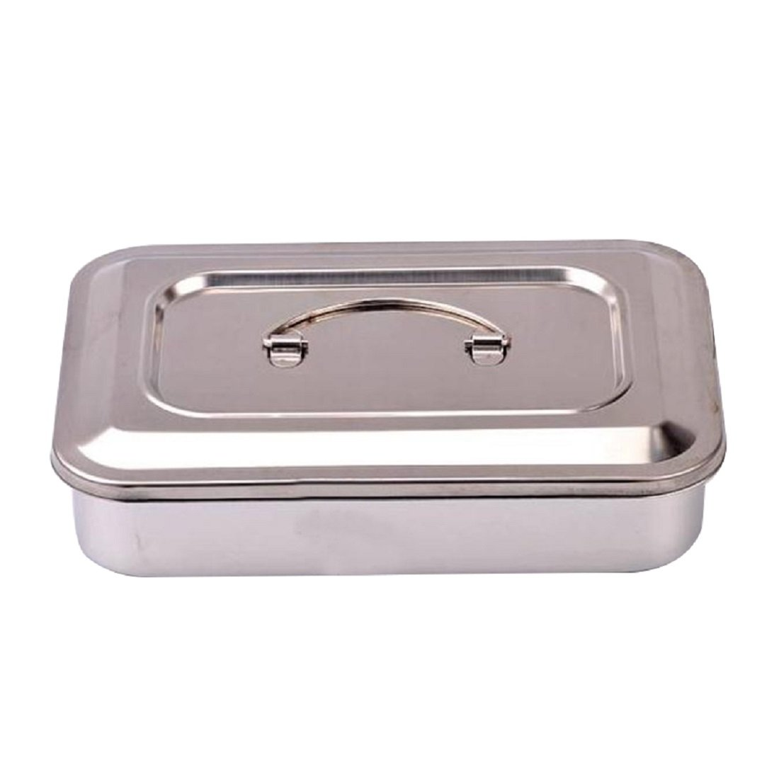 Tinsay Medical Stainless Steel Sterilizer Box Square Dish With Lid Dental Instruments 9 Inch
