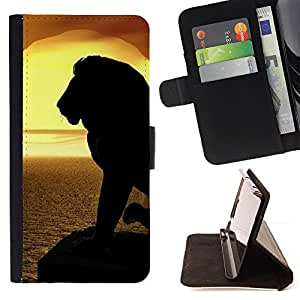 DEVIL CASE - FOR Samsung Galaxy S6 - Lion Silhouette Sunset Sea Ocean Summer - Style PU Leather Case Wallet Flip Stand Flap Closure Cover