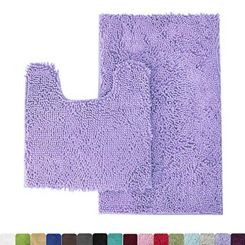 MAYSHINE Bathroom Rug Toilet Sets and Shaggy Non Slip Machine Washable Soft Microfiber Bath Contour mat (Lavender,32″ 20″/20″ 20″ U-Shaped)