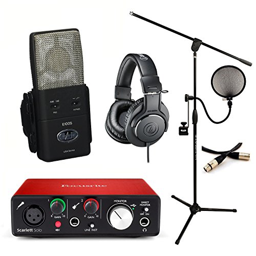 CAD Equitek E100s With Focusrite Solo 2nd Gen ATH-M20x Conquest XLR Pop Filter & MC40B-PRO Stand