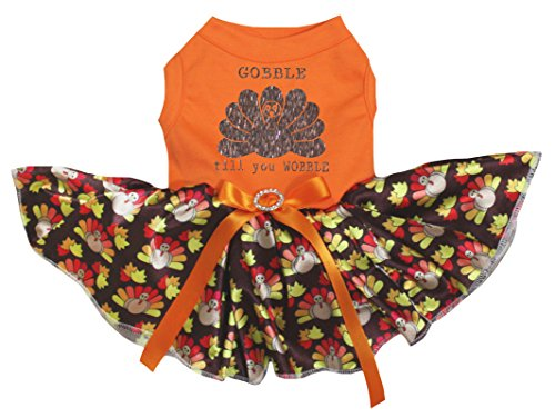 Image of Petitebella Gobble Til You Wobble Orange Shirt Turkeys Tutu Puppy Dog Dress (Large)