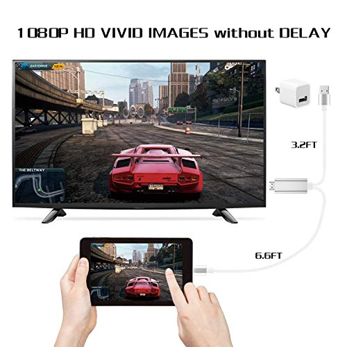 Bambud Compatible with iPhone iPad to HDMI Adapter Cable 6.5ft, Digital AV Adapter 1080p HD TV Connector Cord Compatible with iPhone Xs Max XR R 8 7 6s Plus, 6,iPad to TV Projector Monitor