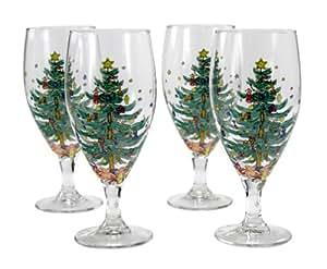 Nikko Ceramics Navidad 16-ounce tallo bebidas gafas, juego de 4