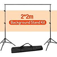 Volkwell Photo Backdrop Stand 2 X 2m/ 6.5 X 6.5ft, Adjustable Portable Background Support System Kit with Carry Bag, for Photography Photo Video Studio.