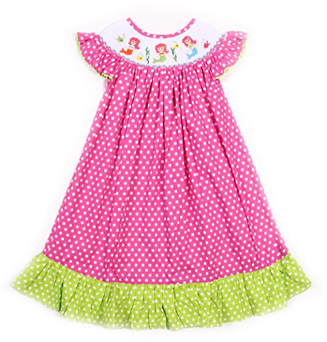 Babeeni Pink Smocked Dress Featured With Mermaids Smocked Pattern Around The Neck, Ruffle On Hem, Angel Sleeves Bishop For Baby Girls (Angel Sleeve Bishop)