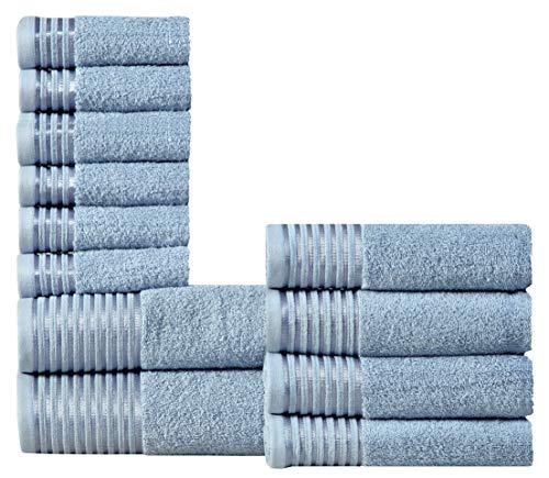 Wicker Park 600 GSM Ultra Soft 100% Combed Cotton 12-Piece Towel Set (Denim): 2 Bath Towels, 4 Hand Towels, 6 Washcloths, Long-Staple Cotton, Spa Hotel Quality, Super Absorbent, Machine Washable