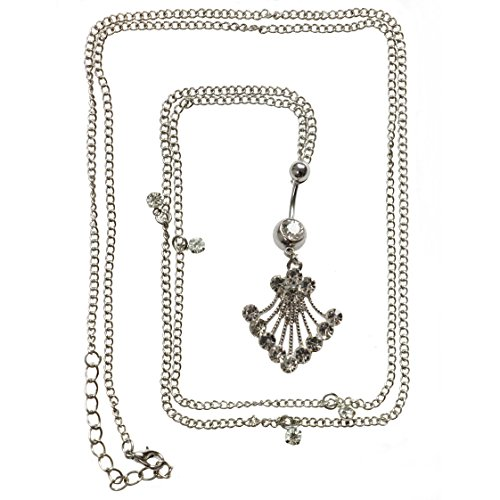 - Oasis Plus 14G Clear Crystal Shell Belly Button Ring Dance Waist Chain Belt Body Piercing Jewelry