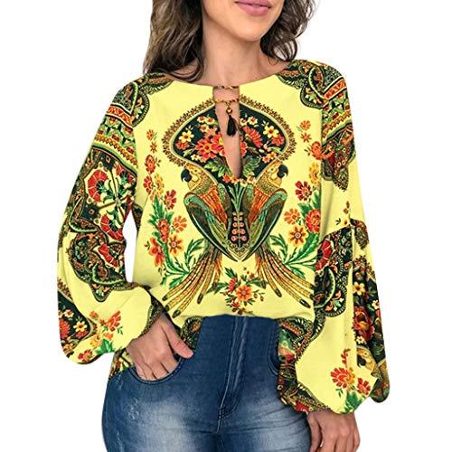 Sanyyanlsy Women's Bohemian Ethnic Print Hollow-Out Tessal Lantern Long Sleeve Blouse Shirt Vest Fashion Ladies Tank Top Yellow