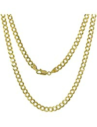 10K Yellow Gold 2-12 mm Curb Link Chain Necklace for Men and Women Concaved Beveled Edges 16-26 inch