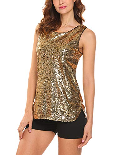 Zeagoo Women's Sleeveless Sparkle Shimmer Camisole Loose Sequined Vest Tank -