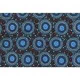 Australian Aboriginal Fabric, Wild Flora Baby Blue Australian Aboriginal fabric by Christine Doolan