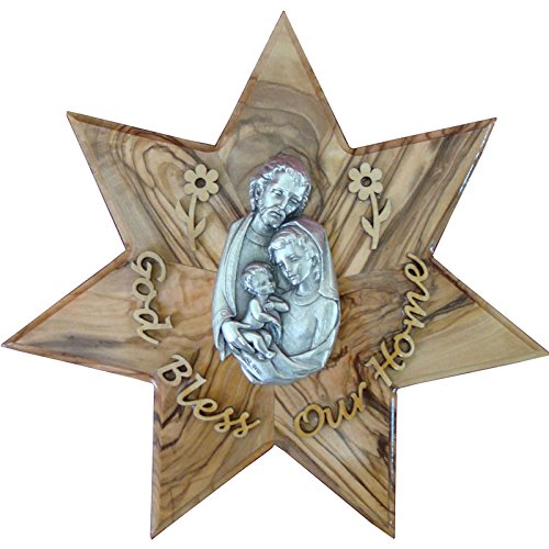 Olive Wood Holy Family Star God Bless Our Home Hand Made Gift (OW-WAH-002)
