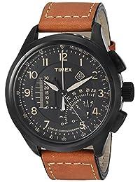 Timex Men's Iq T2P277 Black Leather Quartz Diving Watch
