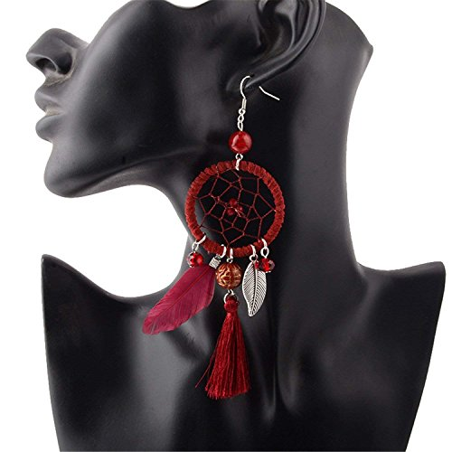 LeNG Fashion Ethnic Wind Wedding Jewelry Bohemian Crystal Beads Leaf Dream Catcher Cotton Tassel Earrings For Women,black by LeNG Earrings (Image #3)