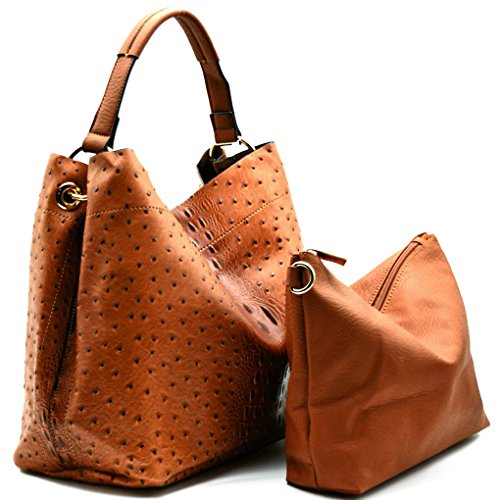 Handbag Republic Ostrich Embossed Tote w/Inner Bag Crossbody- Brown (Handbag Republic)