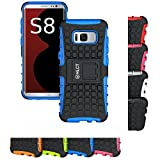 Galaxy S8 Stand Case, HLCT Rugged Shock Proof Dual-Layer PC and Soft Silicone Case With Built-In Stand Kickstand for Samsung Galaxy S8 (2017) (Blue)