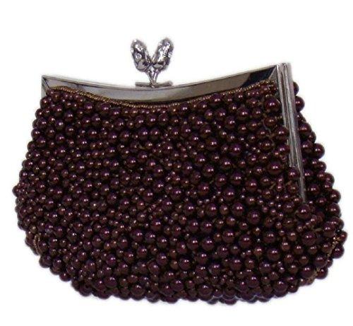 Damen Partytasche Clutch Abendtasche Evening Bag Handtasche mit Perlen,Rotbraun 21x10 cm,