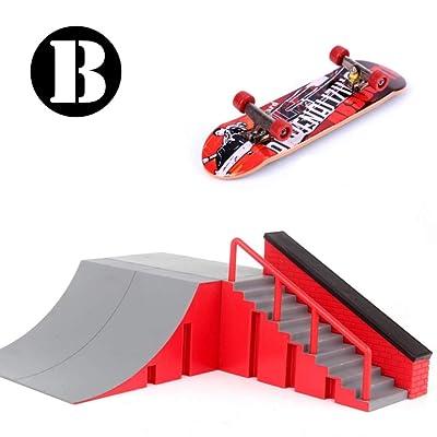 Novobey Mini Finger Skateboard Skate Park Kit Ramp Parts Desk Mini Fingerboard Toy for Kids and Adults: Toys & Games