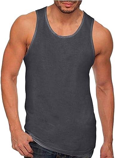 Camisetas de Tirantes Hombre,Verano Moda Hombre básica Casual Deporte Gym Camiseta sin Mangas Slim Fit Fitness Camisetas de Tirantes Color sólido Top Shirts Camisas Camiseta vpass: Amazon.es: Ropa y accesorios