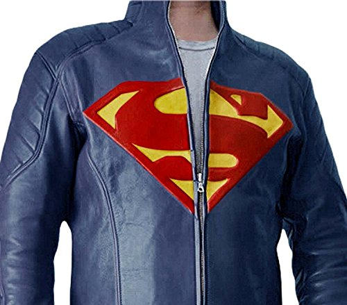 Superman Leather Jacket - Blue Leather Man of Steel Halloween Costume Leather Jacket for Mens (M, SUPERMAN BLUE)