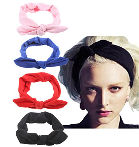 - 4 Pack Women Fashion Elastic Hair Band Turban Head Band Accessories Set4