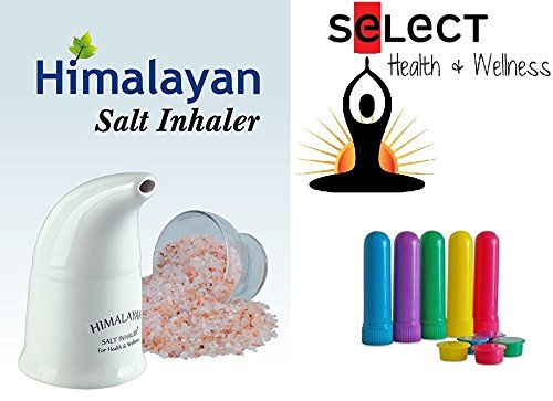 Himalayan Pink Salt Inhaler with 170g of Salt Plus 5 Salt Filled Travel Inhalers, All-Natural Respiratory Aid from Select Health & Wellness by Select Health & Wellness