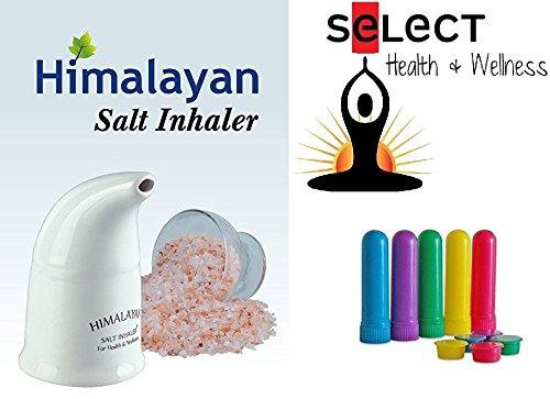 Himalayan Pink Salt Inhaler with 170g of Salt Plus 5 Salt Filled Travel Inhalers, All-Natural Respiratory Aid from Select Health & Wellness