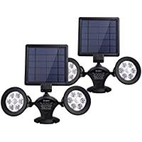 2-Pack Brizled Solar 12 LED Outdoor Security Flood Dual Head 360 Degree Rotatable Spotlights