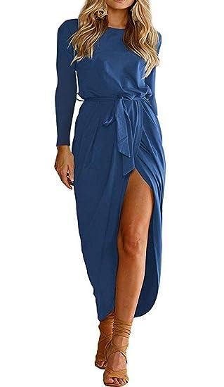 414ca813556 ECHOINE Women Formal Long Sleeve Work Dress Cocktail Party High Slit Royal  Blue