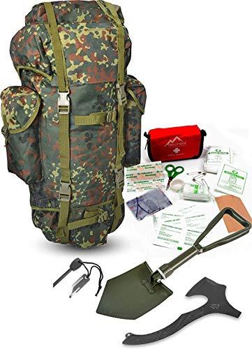 Survival Set BW Bundeswehr Flecktarn Kampfrucksack + Bundeswehr Spaten nach TL + Tomahawk M48 + Feuerstarter + Erste…