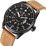 Tamlee Men's Quartz Watches Auto Date Clock Leather Strap Army Military Sports Wrist Watch