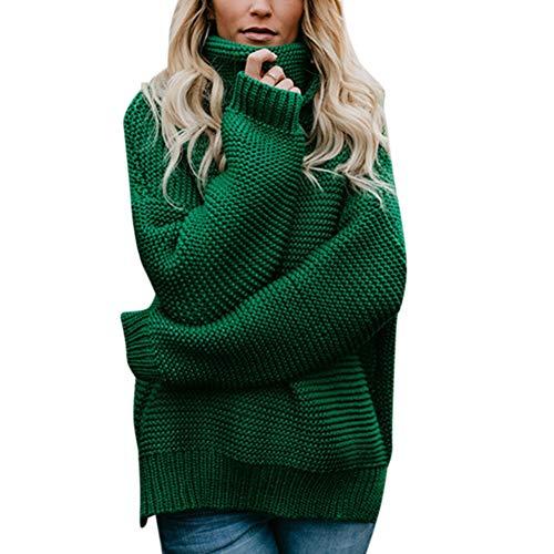 Ocamo Halloween Women Long Sleeve Pullover Sweater High Collar Fashionable Knitted Top Green L ()