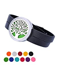 HOUSWEETY Tree of Life Aromatherapy Essential Oil Diffuser Bracelet Hypo-Allergenic Stainless Steel Locket Pendant - 11 Refill Pads
