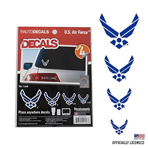 Officially Licensed U.S. AIR Force Decals - 4 Piece US Military Stickers for Truck or Car Windows, Phones, Tablets & Laptops  Large Military Decals 1.75 to 4 Inches  Car Decals Military Collection