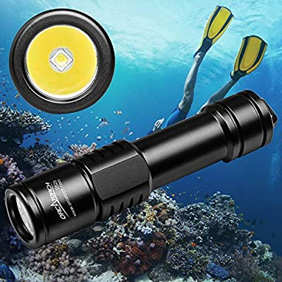 ORCATORCH D520 Diving Flashlight 1000 Lumens Scuba Diving Light Submarine Light Underwater 150m Scuba Safety Lights(Light+Battery+Charger) (Black)