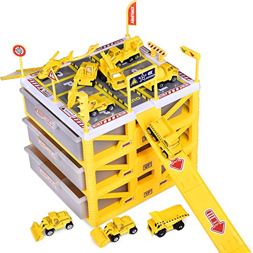 Construction Toys with 3-Level Car Parking Garbage Storage Box Toy Inculding Various Die-cast Construction Trucks, Parking Lot, Traffic Road Sins, Ramp Racing Set, Construction Birthday Party -