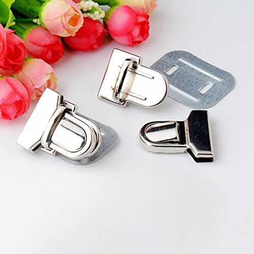 (2 Sets Silver Tone Trunk Lock Handbag Bag Accessories Purse Snap Clasps/Closure Locks 33x29mm F0826)