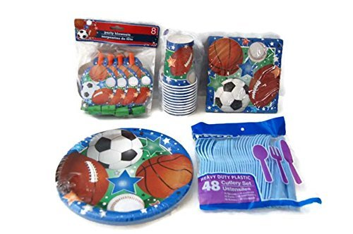 Sports Theme Birthday Party Supplies Pack - Plates, Napkins, Cups, Cutlery, Party Blowouts - Baseball, Football, Soccer, Basketball by (Soccer Birthday Theme)