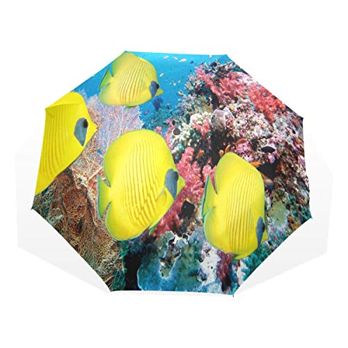 Umbrella Underwater World Of Tropical Fish Folding Sun Protection Anti-UV Umbrella Windproof Lightweight for -