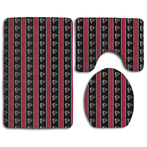 Sorcerer Custom Colorful Doormat American Football Team Atlanta Falcons Indoor Bathroom Anti-Skid Mats,3 Piece Non-Slip Bathroom Rugs,Non-Slip Mat Bath + Contour + Toilet Lid ()