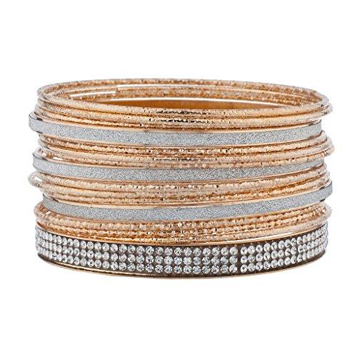 - Lux Accessories Rose Goldtone Silvertone Glitter Pave Crystal Rhinestone Bangle Bracelet Set