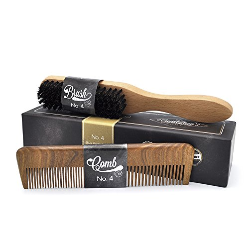 Hair & Beard Comb + Brush – SET – for Men, Sandal Wood COMB, 100% Natural Boar Bristle BRUSH, Best for Grooming Facial and Head Hair, use with Balm, Oil and Wax, Packaged in Premium Giftbox